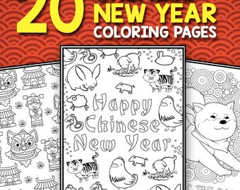 Chinese New Year Coloring Book - Instant Download Activity Book for Kids and Adults Chinese New Year 2018 Printable Coloring Pages PDF