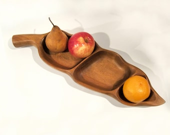 """Vintage Carved wood """"chili"""" snack tray"""