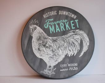 Rooster Sign Farmhouse Sign Round Wood Sign Farmers Market Sign Farmhouse Decor Housewarming Gift Rustic Decor Gift For Her Mother's Day