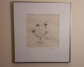 Two Framed Cartoons. Unidentified cartoonist. Pen and Ink