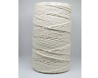 Cotton rope, 2.5 mm, 3 strand (ply) twisted, 100% natural. Macrame rope, weaving, rope for crafts, twine, cord, natural fiber, string