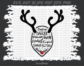 Reindeer Names svg, Reindeer svg, Rudolph svg, Christmas svg, SVG Dxf EPS Png Vector Art, Clipart, Cut Print File Cricut & Silhouette Decal