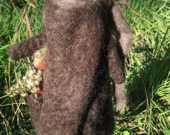 Mocha Hand Felted Wool Bunny