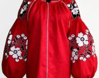 Vyshyvanka Blouse Vishivanka Boho Ukrainian Embroidery Custom Bohemian Style Boho Clothes Linen Cloth Ethnic Ukraine Mexican Modern Style