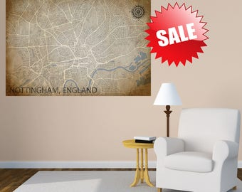 NOTTINGHAM Canvas Print, England Vintage City map, Horizontal Wall Art, Home decor, Art over bed, housewarming gift, United Kingdom Art, UK