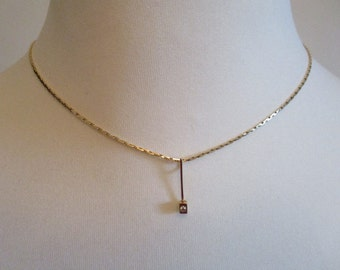 diamond pendant and gold chain 18K