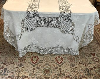 White Cotton Tablecloth with Crochet Trim