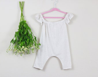 White playsuit, off the shoulder, baby clothes, baby girl clothes, baby girl shorts, toddler, Easter baby, baby easter clothing