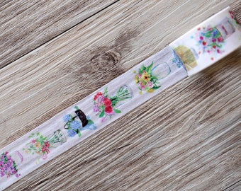 Vase Flower Washi Tape,Gorgeous Flowers Washi Tape,spring washi tape,Floral Washi Tape,Striped Washi ,Masking tape