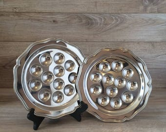 1970's Snail Serving plates / 2 Stainless Steel French Escargot Serving Platters by Guy Degrenne / Fine Dining / Art de la table / Retro