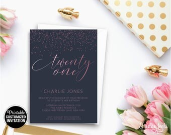 Navy And Rose Birthday Invitation, Customized Birthday Invite, Digital Printable Birthday