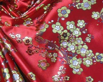 Another stunning Gold Blossom embroidered on Red Asian Chinese Brocade Silk Fabric Motif 29 inch W, By The Yard or Metres or Samples GP-610