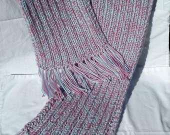 Knit Scarf - Dusty Pink and Baby Blue