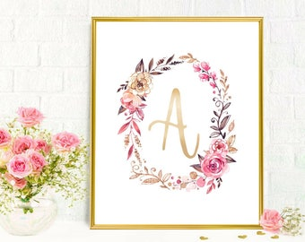 Baby Girl Name Monogram Print Personalized Custom Name Nursery Decor Baby Shower Gifts Beautiful Watercolor Floral Wreath Family Painting