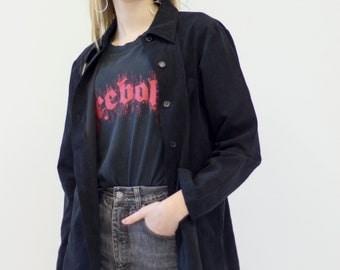 VINTAGE Black Button Downs Retro Shirt