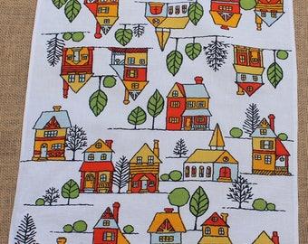 1960s Vintage Linen Kitchen Tea Towel with Houses, MCM