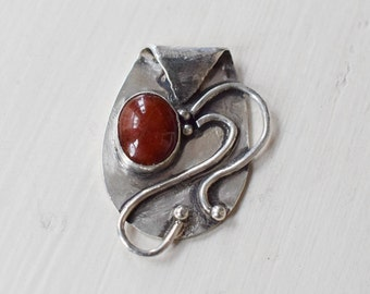 Sterling Silver Pendant Red Onyx Stone