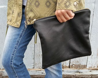 Talyse | Black Leather Clutch | Clutch Purse | Soft Leather Bag | Upcycled Purse | Repurposed Leather Purse | Handmade Purse | Black Bag