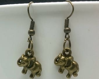Antique Bronze Colour Elephant Wired Hook Earrings