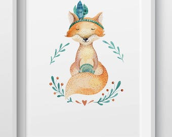 Woodland animal fox nursery print
