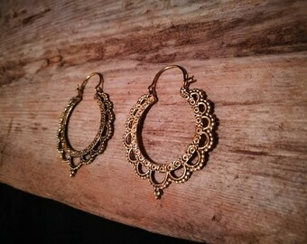Beautiful brass hoop earrings petal mandala drop tribal