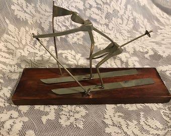 Mid Century Sterner Metal Nail Art Skier