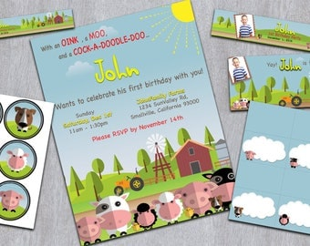 Farm/Barnyard Birthday Party - Printable/Customizable Package