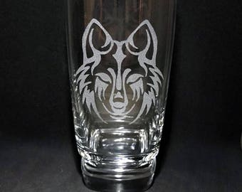 Hand Etched Wolf 16oz Glass Tumbler