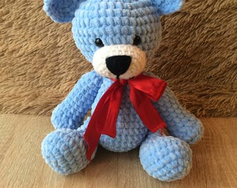 Crocheted Plush Teddy Bear - Amigurumi Blue Soft Toy