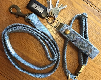 Tweed collar, lead and key fob set