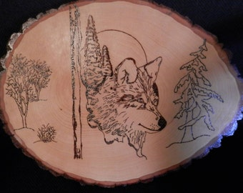Wood Burn Wall Hanging of a Smiling Wolf