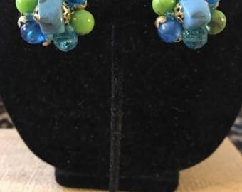 Vintage Blues and Greens Clip Beaded Cluster Earrings