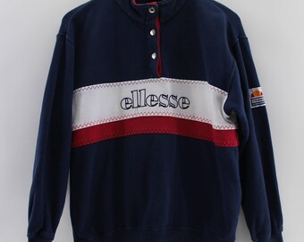 Vintage 90s PERUGIA ITALIA Button Sweater Ladies Large Ellesse Italia SpellOut Streetwear Sweatshirt Ellesse Colorblock Jumper Ladies Size L