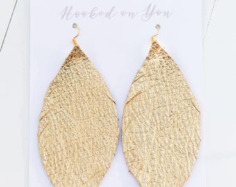 GOLD {SHOWSTOPPER COLLECTION} - Feather Leather Statement Earrings