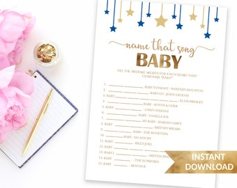 Navy blue Name that song baby shower game | Twinkle twinkle little star baby shower game | Printable shower game | Baby boy blue theme