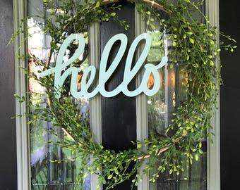 Handmade 'Hello' wreath