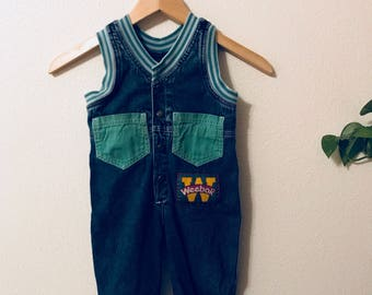 Vintage Toddlers Weebok Sleeveless Denim Romper with Pockets Size 2T