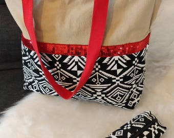 Tote bag in canvas and sequined lace with its case