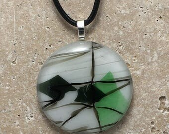 Round Confetti Fused Glass Pendant