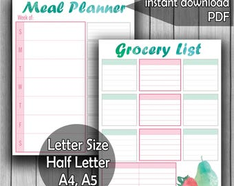 Printable meal planner with grocery list, Weekly Meal Planner, Meal Organizer,letter size, Half Letter, A4, A5, Instant Download