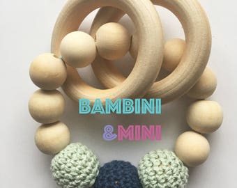 Wood Baby Rattle | Wood Teething Toy | Wooden and Crochet Teether | Baby Gift | Baby Shower Gift