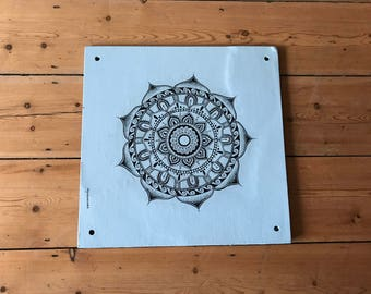 Hand-drawn mandala on duck egg blue wooden board - 'The Isabelle Board'