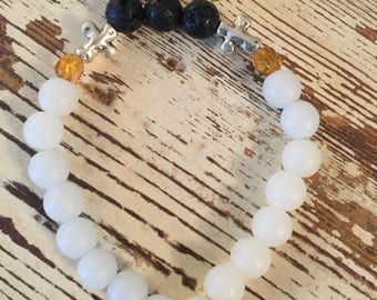 Essential Oil Diffuser Bracelet w/Silver Cross