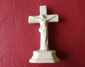 Old french Bisque Ceramic Cross