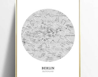 berlin wall art, digital download, A4, map