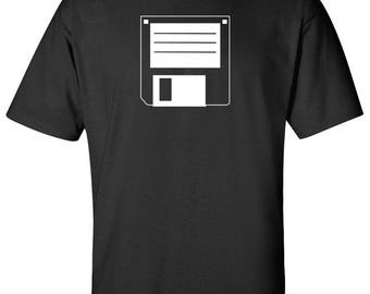 "3.5"" Floppy Disc B Drive PC Nerd Retro Logo Graphic T Shirt"