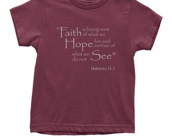 FeroicTees Faith Hope Hebrews 11:1 Bible Verse Youth T-Shirt