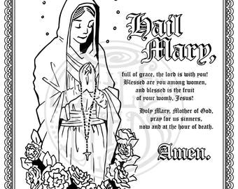 Mary coloring page etsy for Hail mary coloring pages