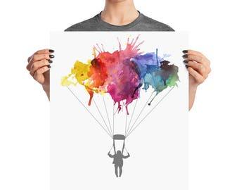 Skydiver Gifts Skydive Parachute. Parachuting Sport Skydivinging Gift Watercolor Art Illustration Poster