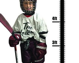 Personalized Growth Chart- Sports Growth Chart- Vinyl Wall Chart- Hockey Wall Decal- Sports Wall Decal
